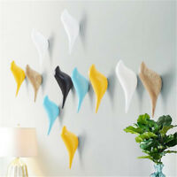 1pcs Bird Wall Hook Home Decoration Resin Wood Grain Storage Rack 3D Coat Holder