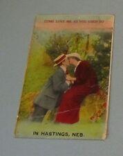 1918 Come Love Me In Hastings Nebraska Postcard with City Postmark Vintage