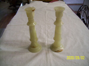 "Onyx Candle Holders  Set of 2 10 3/4"" Tall for Taper Candles"