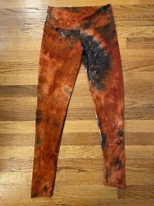 Tye Dye Burnt Orange And Black Leggings Yoga Pants Size Medium Cream Soft SWEET