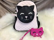 NEW!  BETSEY JOHNSON Kitty Cat Backpack Purse BLUSH School Travel SMILY & Coin