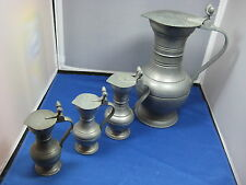 "4 Antique German Engraved Pewter Pitchers/Flasks 10""High Big one Collectible"