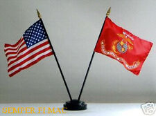 USA & US MARINE CORPS BATTLE COLORS BIRTHDAY BALL 4 x 6 FLAG SET WITH BASE WOW