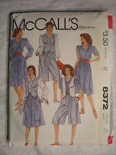 McCall's Women's Vest Blouse Skirt Culottes Pattern# 8372 Size 10 1983