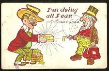 1907 CARPET BAGGERS I'm Doing All I Can GOLD BRICK Comic Postcard GRASS LAKE MI