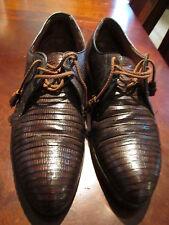 Men's vtg Stetson Teju Lizard Laceup Oxford Tassel 9.5 10 Shoes 60's 70's