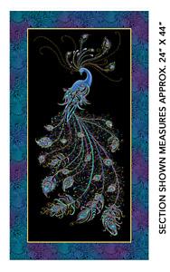 Peacock Flourish: Black Flourish Panel- Benartex