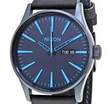 PRE-OWNED $150 NIXON SENTRY Men's Stainless Steel Leather Date Watch A1052224