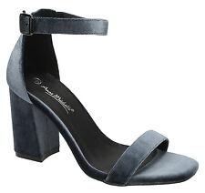 Ladies Anne Michelle Block Heeled Velvet Sandals F10474 Style K Grey UK 5 Standard