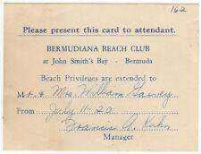 1949 BERMUDIANA HOTEL BEACH CLUB Pass JOHN SMITH'S BAY Bermuda Island BDA