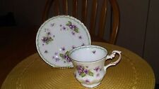 Vintage Queen's Violets Tea Cup and Saucer Wedding Rosina English Bone China