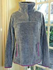 bnwot WEIRD FISH Fluffy Grey/Pink Soft Fleece Jacket ~ Pink Trimming ~ UK 12