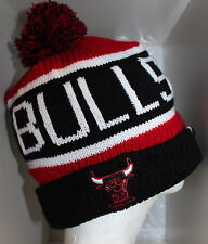 NBA Chicago Bulls CALGARY POM KNIT Cap Beanie with Pom - Black/Red