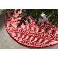 Large Knitted Christmas Tree Skirt with Snowflake Pattern, Red - 120 cm