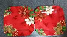 """NEW 222 FIFTH POINSETTIA HOLLY SET OF 2 SQUARE DINNER PLATES 10 1/2"""""""