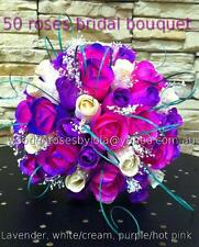 Wedding bridal bouquet wooden roses lavender,white/cream, purple/hot pink.