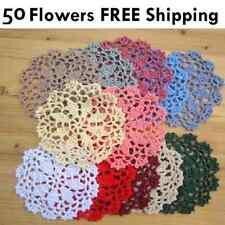 50 x 10cm Coloured Crochet Flowers Doilies Various Mixed Colours