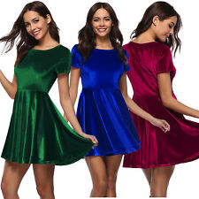 Women's Velvety Solid Color Short Sleeve Scoop Neck Cocktail Dress