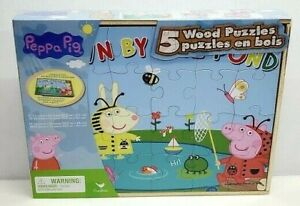 Peppa Pig and Friends Wood 5 Puzzles Storage Box Kids Educational Learn Jigsaw