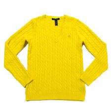 Ralph Lauren Womens Sweater Pull Over V Neck Cable Knit Lrl Logo S M L Xl