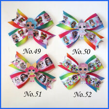 "20 BLESSING Girl 4.5"" Two Tone Wing Hair Bow Clip C- L.O.L Doll Rainbow Baby"