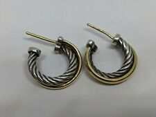 DAVID YURMAN Sterling Silver 18k Yellow Gold Crossover Cable Hoop Earrings 18 MM