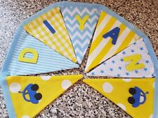 PERSONALISED BUNTING - YELLOW AND BLUE MIX-  £1 PER FLAG, FREE P&P