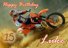 PERSONALISED MOTOCROSS MOTORBIKE BIRTHDAY CARD