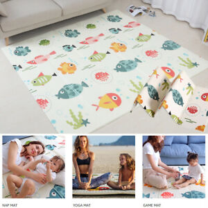 2 Sides Cartoon Baby Mat Kid Crawling Play Pad Soft Foam Foldable Carpet Gift UK