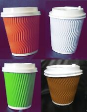 More details for strong insulated ripple disposable paper coffee cups lids 8 oz white/brown/green