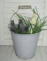 Pflanzeimer Pflanzschale Metall Zink Eimer  Shabby Chic Landhaus 16cm