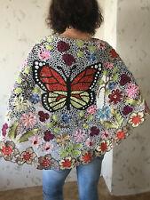 Irish crochet lace wrap...Monarch Butterfly shawl