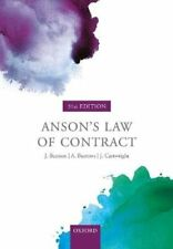 Anson's Law of Contract by Jack Beatson FBA 9780198829973 | Brand New