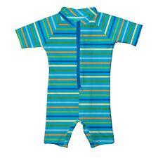 Nwt iPlay Medium 6-12 Month One Piece Zipper SunSuit Blue Swimwear Swimsuit New