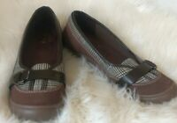 Lands End Shoes Size 8.5 Mary Jane Womens Brown Suede Leather Plaid Trim