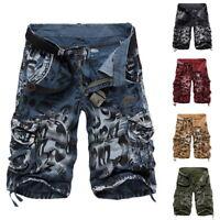 Short pour Hommes Eté Bermuda Taille Haut Multi-Poches Camo Cargo Pantalons