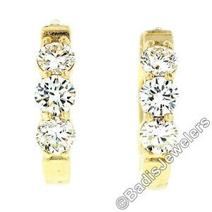 NEW Fancy 14k Yellow Gold 1.52ctw 6 Round Diamond 18mm Huggie Hoop Earrings