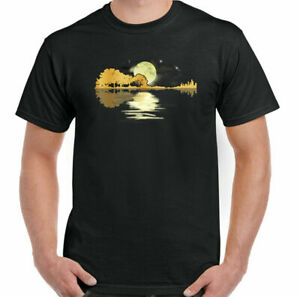 GUITAR T-SHIRT Electric Acoustic Bass Rock n Roll Band Music Reflection Drum