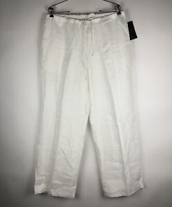Posse Women Wide-Leg Linen Pants Size  L White Pockets High-Rise
