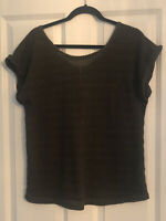 NEW LOOK KHAKI GREEN OVERSIZED KNITTED SHORT SLEEVE TOP SIZE 16 VGC