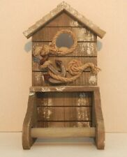 SHABBY CHIC DISTRESSED WOODEN TOILET ROLL HOLDER  NAUTICAL BATHROOM WC