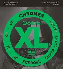 D'Addario ECB80SL XL Chromes FlatWound Bass Guitar Strings sup long scale 40-95