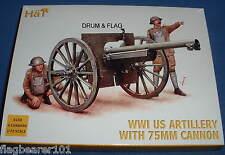 Hat 8158 WW1 d'artillerie américain avec 75mm cannon-échelle 1/72 en plastique