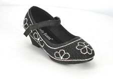 Jelly Beans Girls Pageant Dressy Wedge Heel Pump with Rhinestone