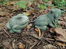 "Cement 4.5 & 5"" Crouching Frog Pair Garden Art Statue Weathered Green Concrete"