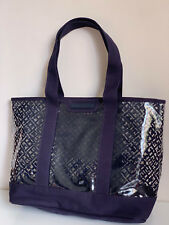 NEW! TOMMY HILFIGER TRANSPARENT CLEAR BLUE SHOPPER SATCHEL TOTE BAG PURSE $99