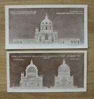 AR1) 2x Architektur Wien 1901 Projekt Zentralfriedhof Kirche Österreich 21x11 cm