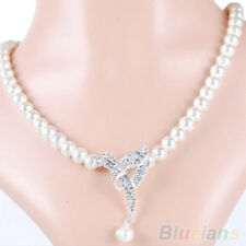 Pearl and Rhinestone Necklace Earrings Bridal Jewelry Set