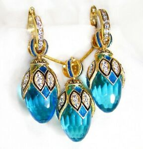 """925 Sterling Sapphire Faberge Egg Jewelry Set Crystals Enamel Gold Hoops 24"""""""