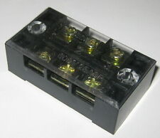 3 Pole Heavy Duty Barrier Style Terminal Block With Clear Cover 600v 25a